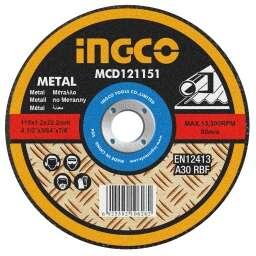 DISCO CORTE METAL 4½ X 1,2MM INGCO MCD121151 CHATO 115X1,2MMX22,2MM UNIDAD