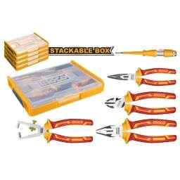 SET ORGANIZADOR + 5 HERRAMIENTAS AISLADAS P ELECTRICISTA INGCO HKTV01P051