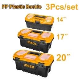 KIT X 3 CAJAS HERRAMIENTAS 14 17 20 BROCHE PLASTICO PBXK0301 INGCO