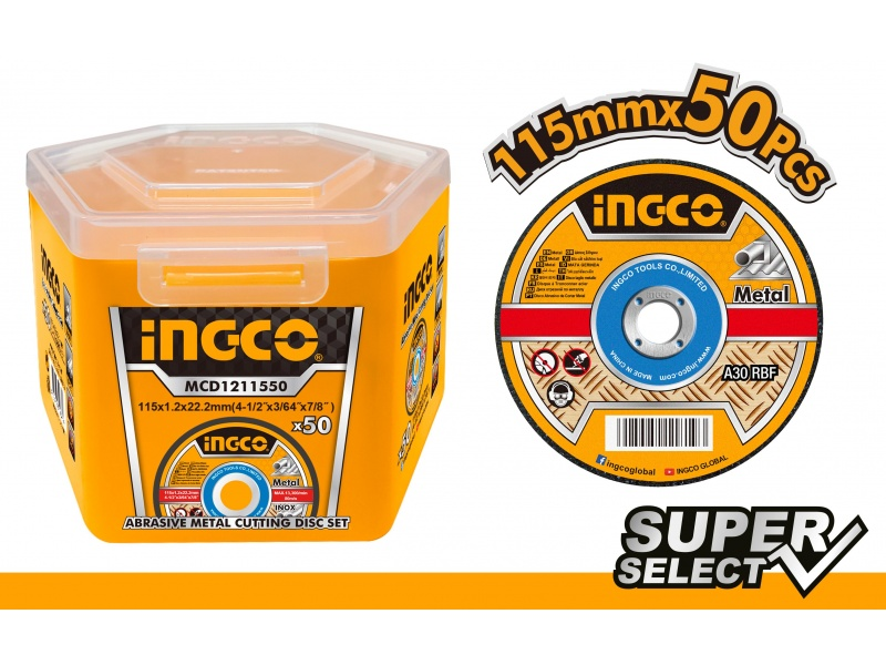 LATA X 50 DISCOS 4 1/2 X 1.2MM CORTE METAL INGCO SUPER SELECT