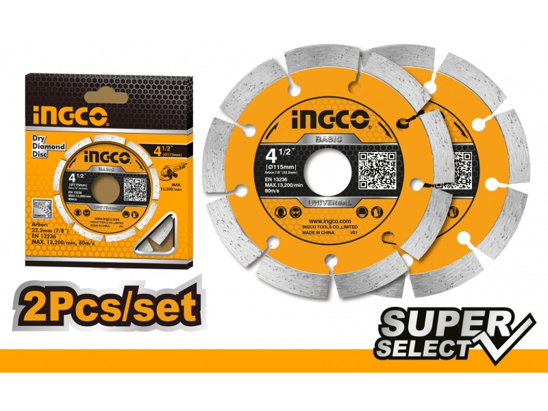 SET DISCOS SEGMENTADOS X2 4 1/2 SUPER SELECT INGCO DMD0111523